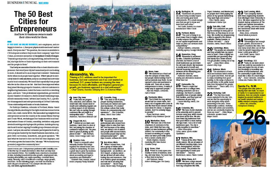 50 Best Cities for Entrepreneurs